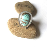 Sterling Silver Hammered Bezel Turquoise Ring