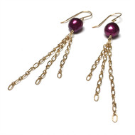 Gold Filled Wine Freshwater Pearl Tassel Earrings