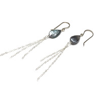 Sterling Silver Blue Freshwater Pearl Tassel Earrings