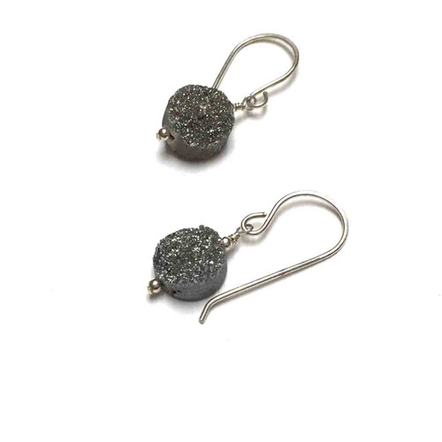 Sterling Silver Grey Sugar Druzy Earrings