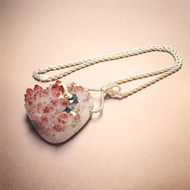 Sterling Silver Rose Quartz Druzy Necklace. Open Your Heart Talisman. Pyrite. Wedding. Bridal. Holiday Shopping.