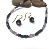 Faceted Sapphire and Mystic Pink Amethyst Rondelles on 14K Gold Handmade French Earwires
