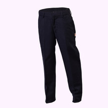 Flat front poly/ viscose dress pant. Machine wash and dry