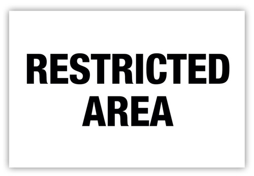 Restricted Area Label (White)