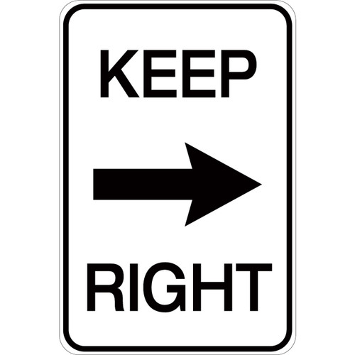 Keep Right (with arrow) - Aluminum Sign