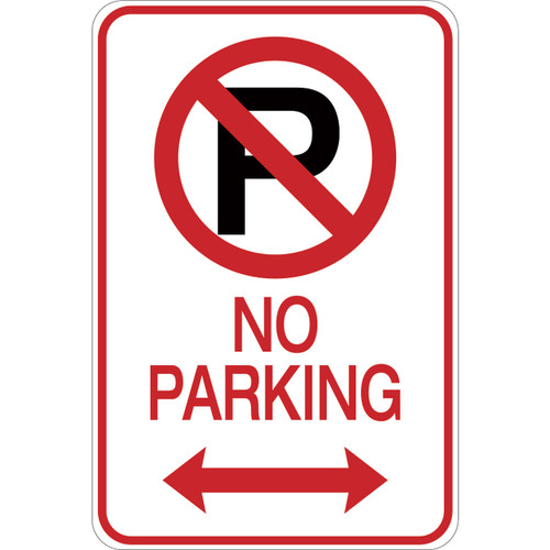 No Parking (with arrows) - Aluminum Sign