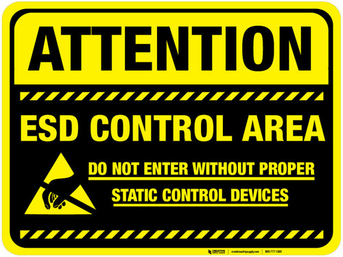 Floor Sign - Attention ESD Control Area with black background