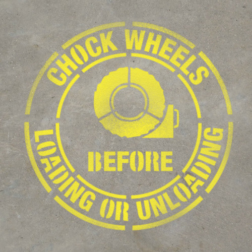 Chock Wheels Before Loading or Unloading - Stencil
