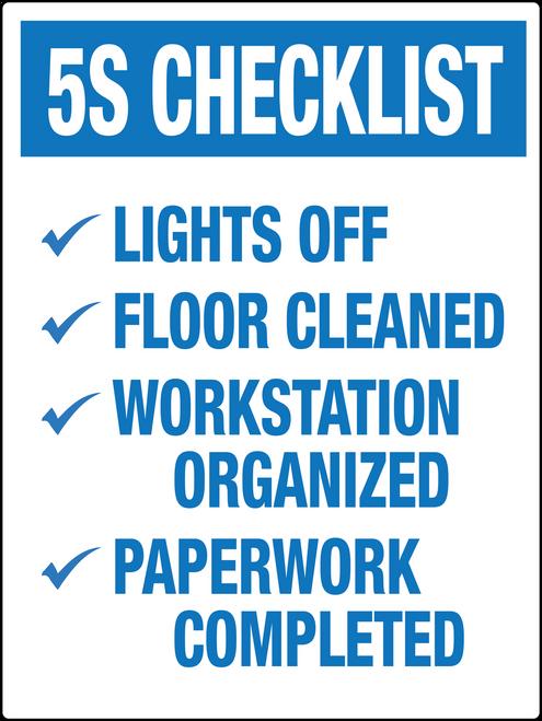 5S Checklist Wall Label