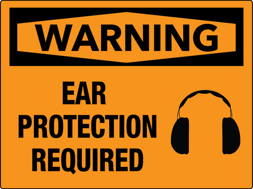 Warning Ear Protection Required Wall Sign