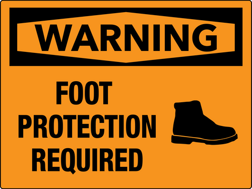 Warning Foot Protection Required Wall Sign