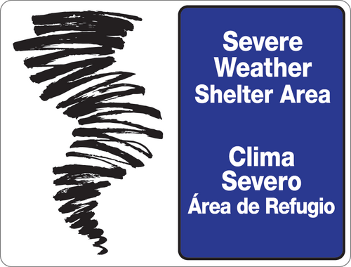 Bilingual Severe Weather Shelter Area Wall Sign