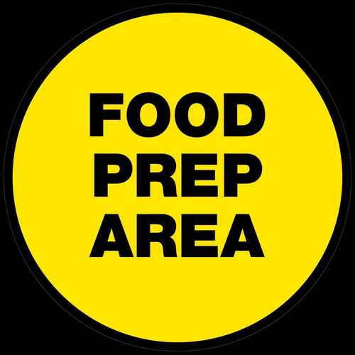 Food Prep Area Floor Sign (Round)