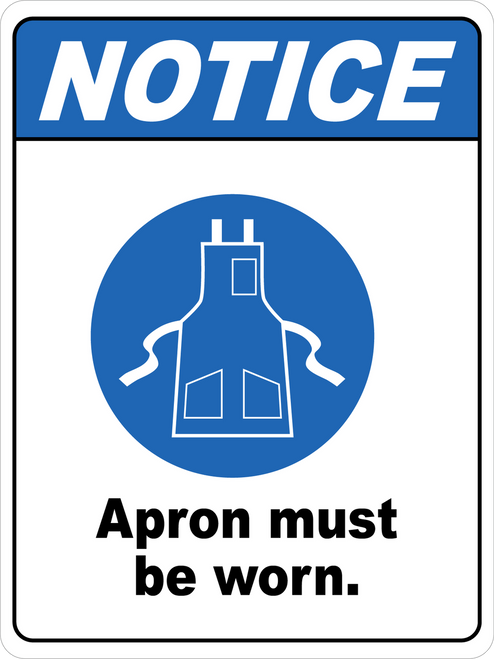 Notice - Apron Must Be Worn Floor Sign