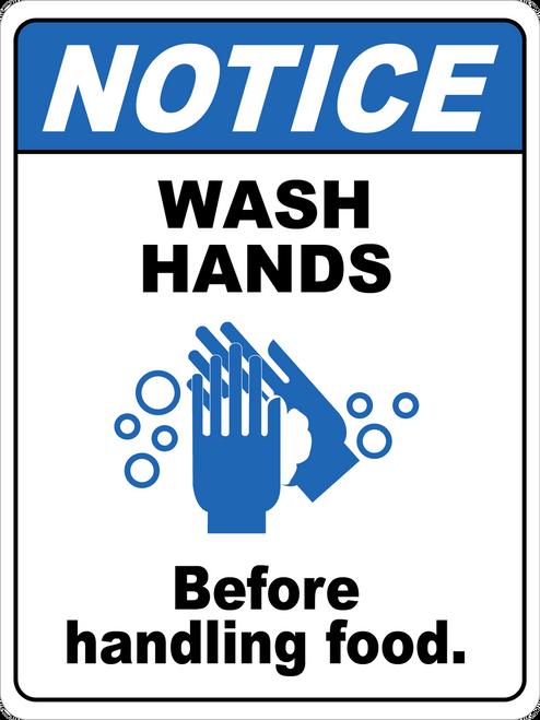 Notice - Wash Hands Before Handling Foods Floor Sign