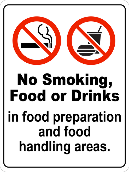 No Smoking Food Or Drinks In Food Handling Areas Floor