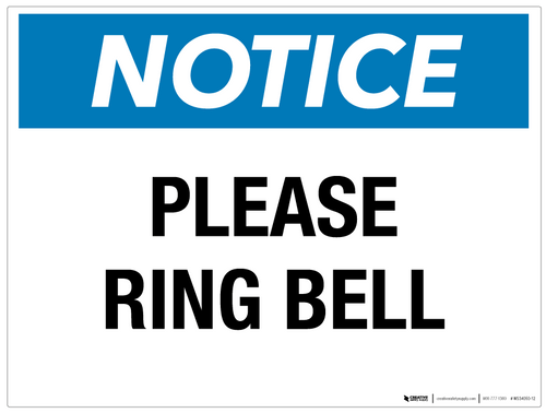 Notice: Please Ring Bell - Wall Sign