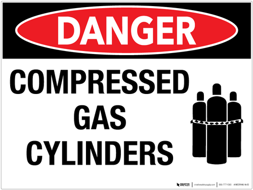 Danger: Compressed Gas Cylinders - Wall Sign