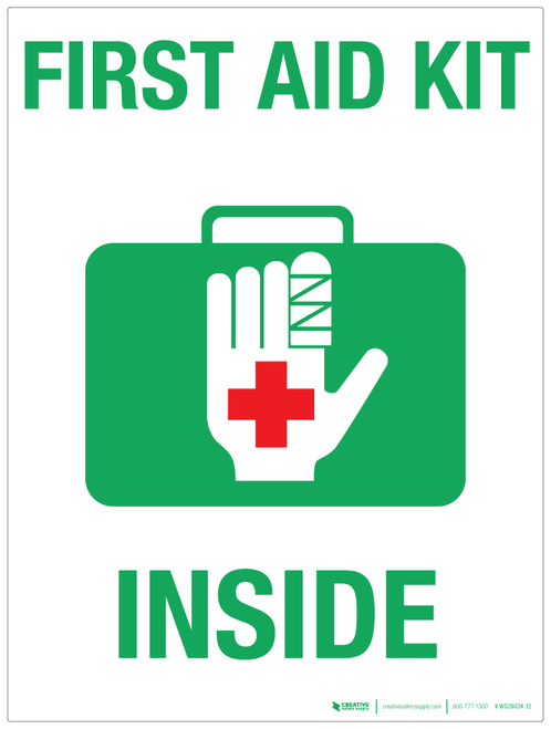First Aid Kit Inside (white background) - Wall Sign