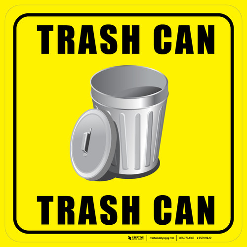 Trash Can (Square) Floor Sign