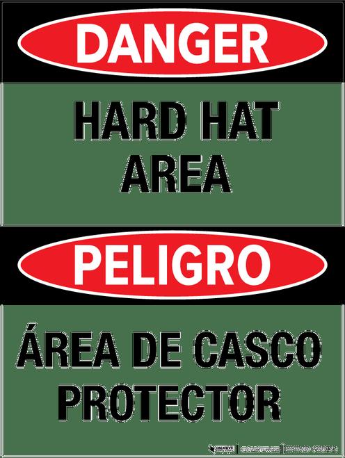 Danger: Hard Hat Area - Bilingual Wall Sign