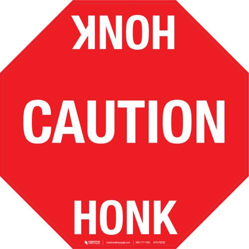 Caution Honk Floor Sign