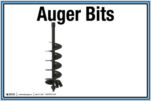 """Wall Sign: (United Rentals Logo) Auger Bits - 12""""x18"""" (Peel-and-Stick Permanent Adhesive)"""