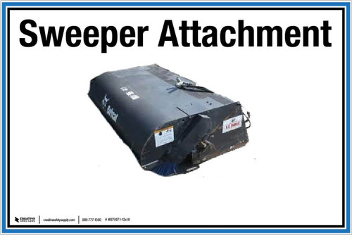 "Wall Sign: (UR) Sweeper Attachment - 12""x18"" (Peel-and-Stick Permanent Adhesive)"
