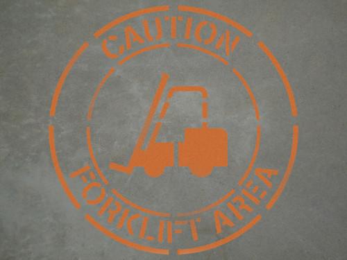 "Caution: Forklift Area - 24"" x 24"" stencil"