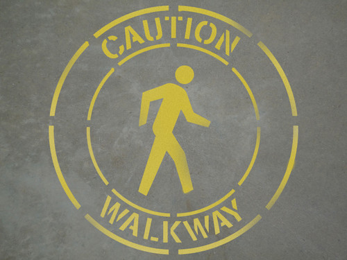 "Caution: Walkway - 24"" x 24"" stencil"