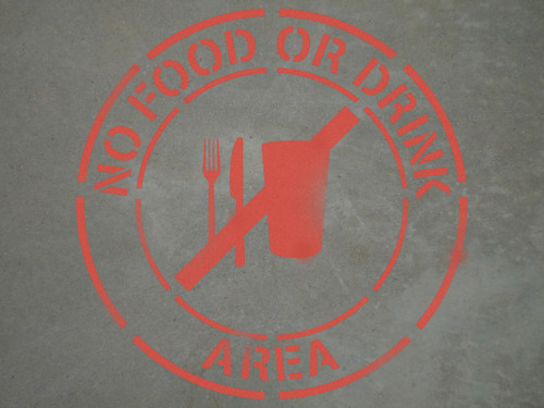 "No Food or Drinks Area - 24"" x 24"" stencil"