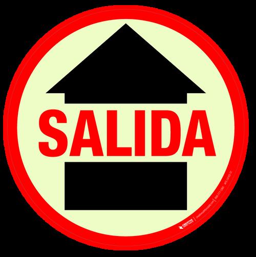 Glow in the Dark Salida (Exit) Floor Sign