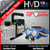 Vacuum Pump and Manifold Kit. Refrigeration & HVAC split Installations
