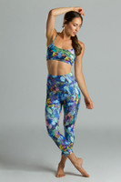Yoga outfit with printed capris leggings and yoga bra tops