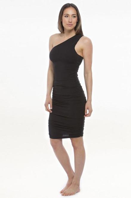 Model wearing KiraGrace One Shoulder Dress in Black with ruching side detail