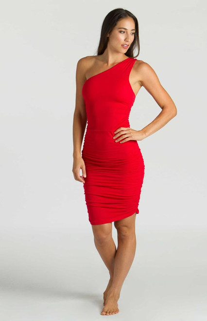 Model wearing KiraGrace One Shoulder Dress in Ruby front