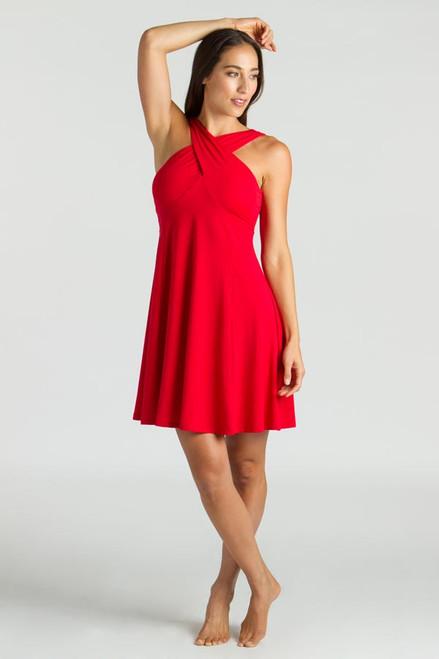 Model wearing KiraGrace Luxe Halter Dress in Ruby with high neck criss-cross goddess wrap design