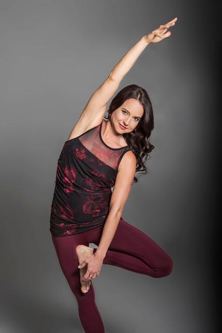 Goddess Mesh Yoga Tank (Black/Stormy Rose Print Mesh)