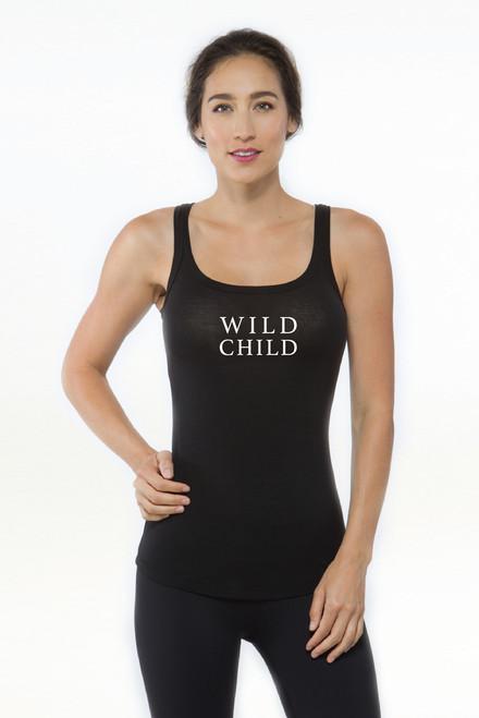 KiraGrace Wild Child Graphic Yoga Tank in black