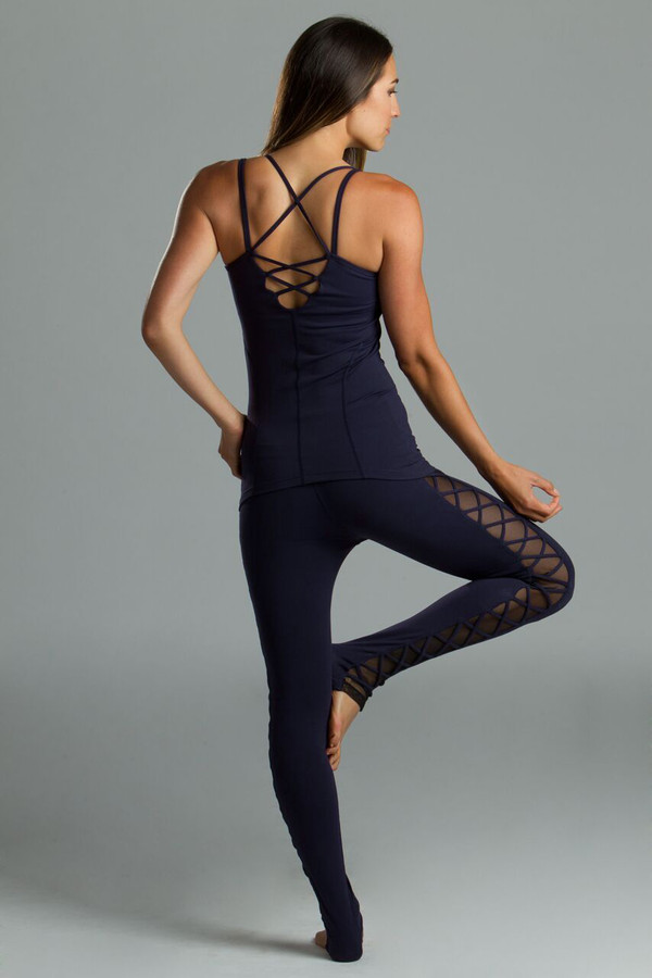 Navy Corset Cami Yoga Outfit