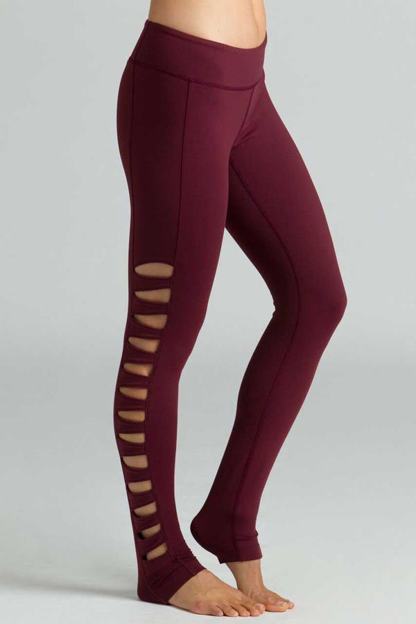 KiraGrace Warrior Toughcut Yoga Legging in Bordeaux side cut-out detail