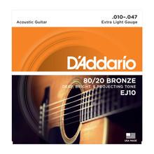D'Addario EJ10 Extra Light .010 - .047 80/20 Bronze Acoustic Guitar Strings