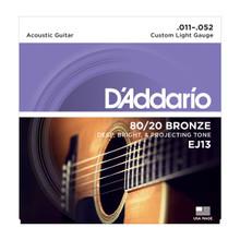 D'Addario EJ13 Custom Light .011 - .052 80/20 Bronze Acoustic Guitar Strings