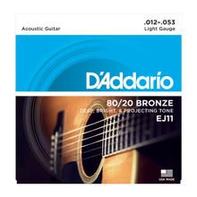 D'Addario EJ11 Light .012 - .053 80/20 Bronze Acoustic Guitar Strings