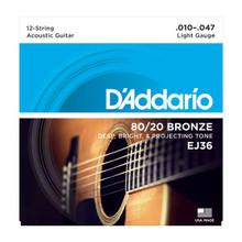 D'Addario EJ36 Light 12-String .010 - .047 80/20 Bronze Acoustic Guitar Strings