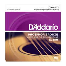 D'Addario EJ38H High Strung/Nashville Tuning .010 - .027 Phosphor Bronze Acoustic Guitar Strings