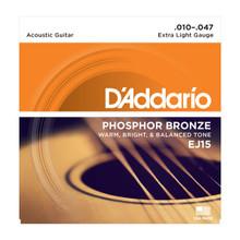 D'Addario EJ15 Extra Light .010 - .047 Phosphor Bronze Acoustic Guitar Strings