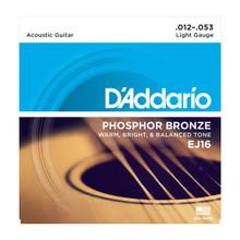 D'Addario EJ16 Custom Light .012 - .053 Phosphor Bronze Acoustic Guitar Strings