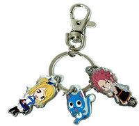 Fairy Tail: Natsu, Happy, and Lucy Metal Key Chain