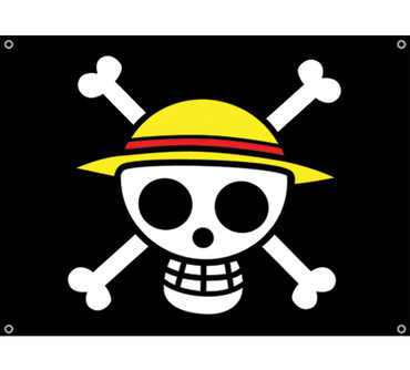 One Piece Straw Hat Pirates Flag Circle Red